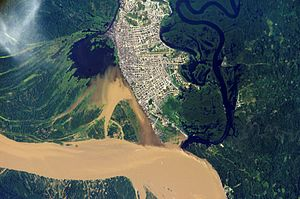 Iquitos - NASA satellite image showing the Amazon River Basin where Iquitos Metropolitan Area is located. The Amazon River appears on the lower side of the photograph.