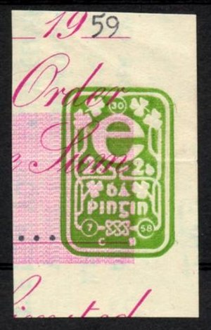 Impressed duty stamp - An Irish 1959 Impressed Duty Stamp on part of a cheque.