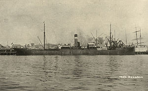 Curlew Island (South Australia) - Postcard of the merchant vessel Iron Monarch (formerly SS Koolonga) pre-1937.