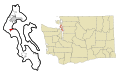 Island County Washington Incorporated and Unincorporated areas Coupeville Highlighted.svg
