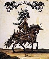 Um Henri duc de Guise – hier kostümiert für das Grand Carrousel – gruppierte sich der Widerstand gegen Italienisches in der französischen Tonkunst.[5] (Quelle: Wikimedia)