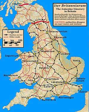 Antonine Itinerary - Iter Britanniarum, displayed as a road map. The plotted routes and stations are approximations.