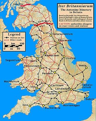 Britannia - Iter Britanniarum, a map of the Roman roads of Britannia, according to the  Antonine Itinerary showing approximate routes and stations.