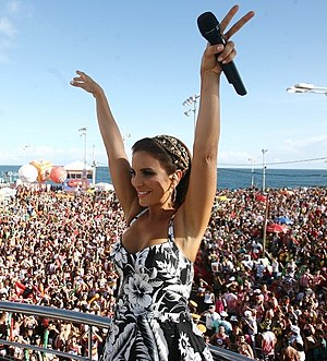 Axé (music) - Ivete Sangalo as she performs in Salvador's Carnaval in 2012.