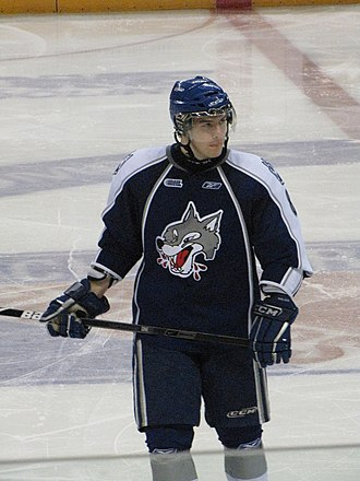Sudbury Wolves - Jake Cardwell of the Wolves wearing the 2009 version of the away jersey