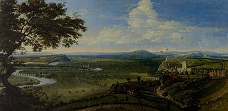 Nottingham - Nottingham from the east, c. 1695, painted by Jan Siberechts