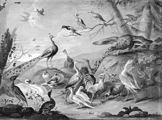 A Hilly Landscape with a Peacock, an Eagle and other Birds