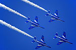 Japan air self defense force Kawasaki T-4 Blue Impulse RJST Trail to Diamond Roll.JPG