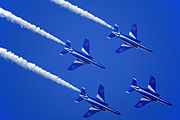 Japan air self defense force Kawasaki T-4 Blue Impulse RJST Trail to Diamond Roll.JPG