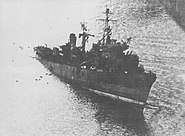 Japanese landing ship LS-11 partially sunk