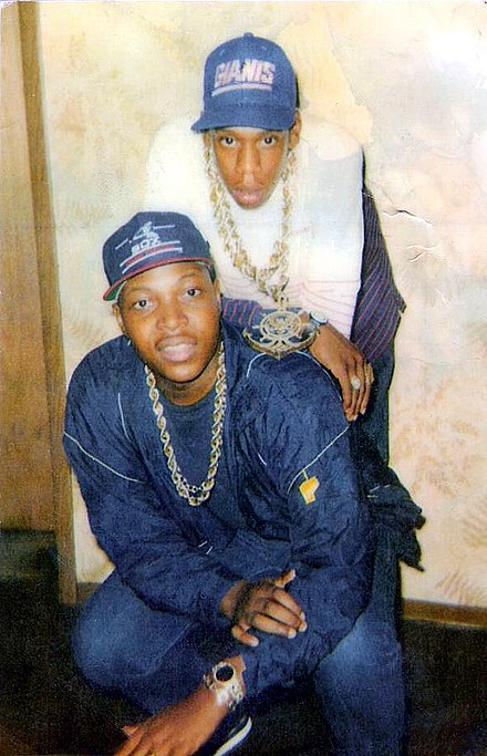 Jay-Z (top) with a friend in Trenton, New Jersey, circa 1988 Jay z @bt's lounge in trenton , nj.jpg