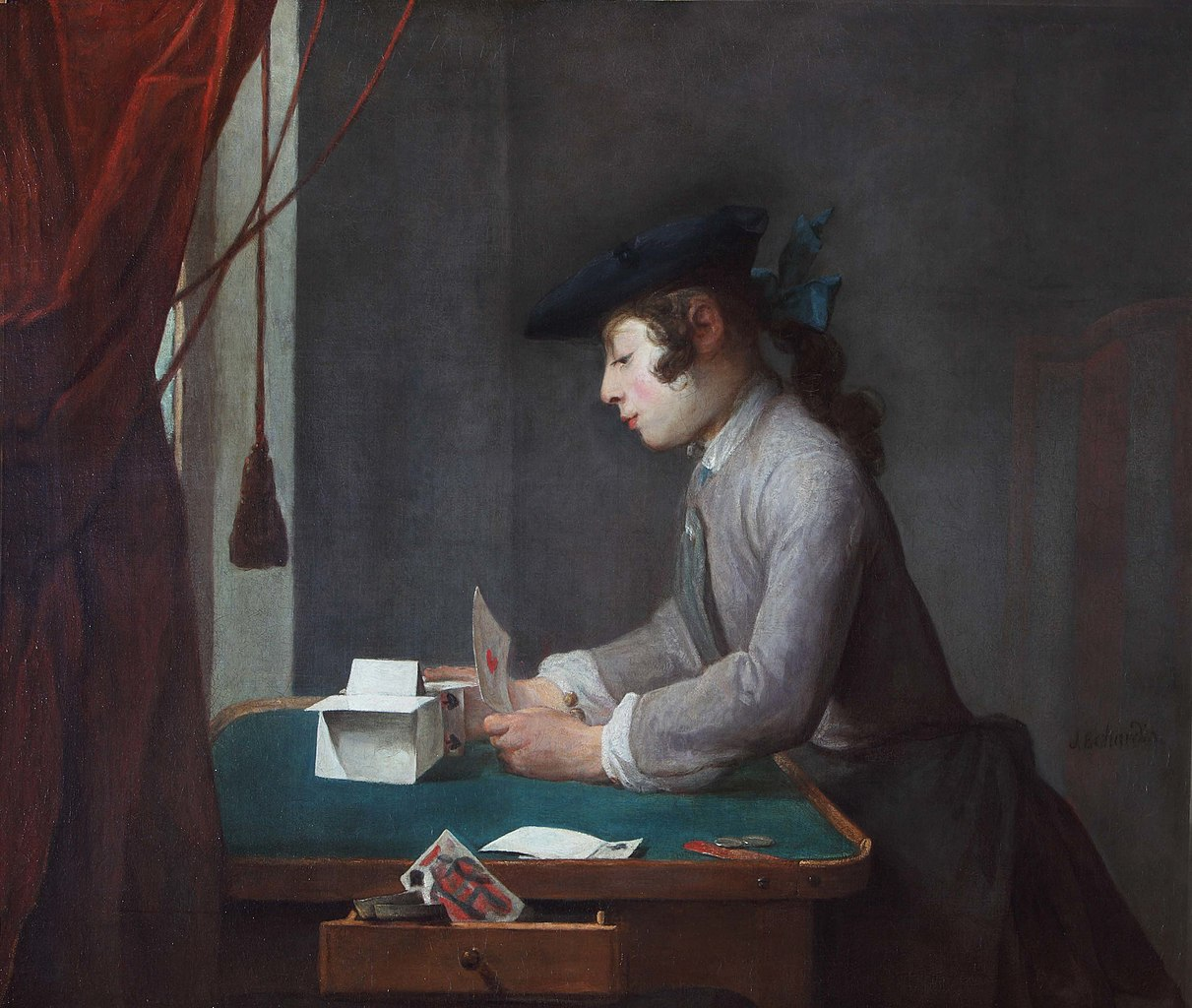 File jean sim on chardin boy building a house of cards - When building a house ...