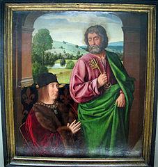 Pierre II, sire de Beaujeu, duc de Bourbon, présenté par saint Pierre