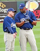 d3b4a16d81b Floyd talking to hitting coach Jim Lefebvre for the San Diego Padres on  March 5