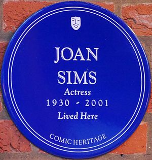 Joan Sims - Plaque at Esmond Court, Thackeray Street, Kensington, London