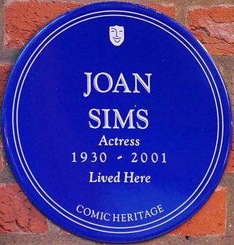Joan Sims - Plaque at Esmond Court, Thackeray Street, Kensington, London