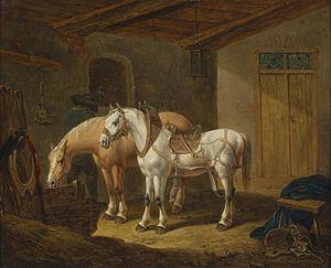 Johann Baptist Dallinger von Dalling - Horses in the Stable by Johann Baptist Dallinger von Dalling, Russian Museum, 1838