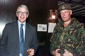Michael Walker, Baron Walker of Aldringham - Walker with Prime Minister John Major at the Ilidza Compound in Sarajevo, Bosnia, during Operation Joint Endeavor