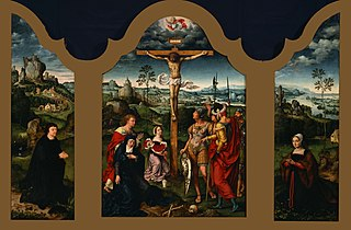 Triptych: The Crucifixion Flanked by the Kneeling Donor and His Wife