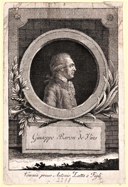 Sepia portrait of a man in profile who has a 18th century wig. He wears a gray coat with one row of buttons. The profile is within a circle over a pedestal labeled Giuseppe Baron de Vins.