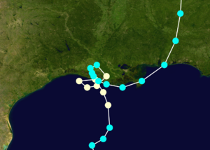 Hurricane Juan (1985) - Enlarged track of Juan along the Gulf Coast