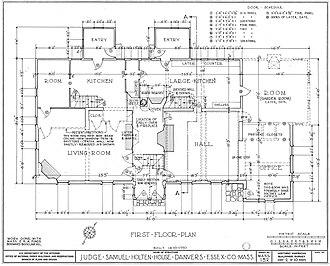 Judge Samuel Holten House - Image: Judge Samuel Holten House first floor plan