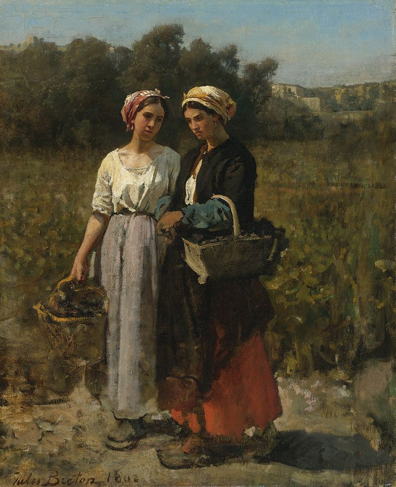 Jules Breton - Deux jeune femme dans le vintage (1862).jpg