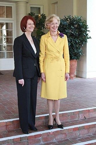 Quentin Bryce - Former Australia Prime Minister Julia Gillard with Quentin Bryce, former Governor-General of Australia.
