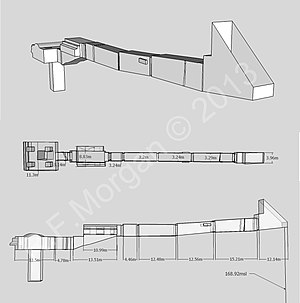 KV4 - Isometric, plan and elevation images of KV4 taken from a 3d model