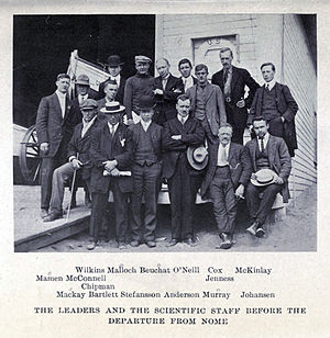 Last voyage of the Karluk -  The expedition's scientific staff, with Stefansson and Bartlett. Malloch, Beuchat, McKinlay, Mamen, Mackay and Murray remained with Karluk; the others formed the Southern Party.