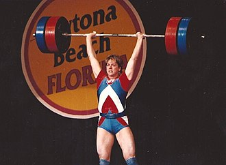 Karyn Marshall - Lifting barbells at the 1987 world weightlifting competition in Daytona Beach, Florida.