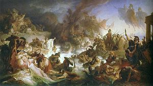 Themistocles - Romantic interpretation of the Battle of Salamis by Wilhelm von Kaulbach