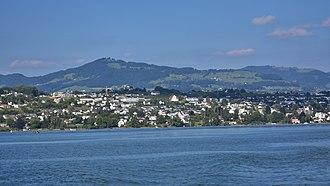 Bachtel - Bachtel mountain and Kempraten as seen from Zürichsee-Schifffahrtsgesellschaft (ZSG) ship MS Helvetia on Zürichsee