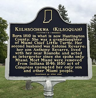Kiilhsoohkwa - Historic sign at Glenwood Cemetery in Roanoke, IN commemorating and memorializing Kiilhsoohkwa.