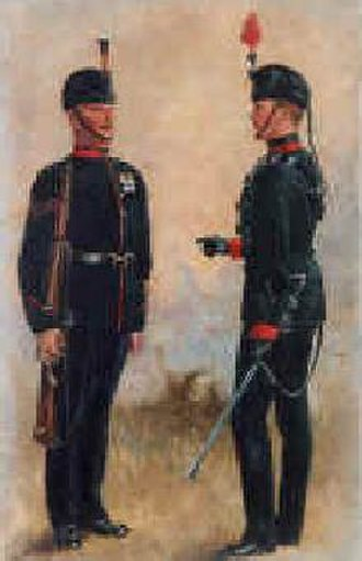 Busby - Wearing the rifle busby—King's Royal Rifle Corps in 1880s by Harry Payne (1858–1927)