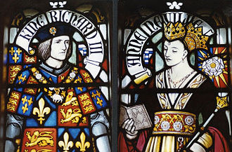 Anne Neville - Stained glass depiction of Richard III and Anne Neville in Cardiff Castle