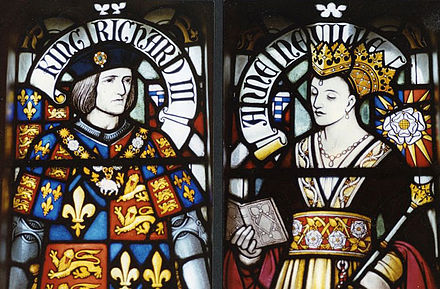 Stained glass depiction of Richard and Anne Neville in Cardiff Castle King Richard III and Queen Anne.jpg