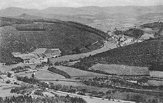 Kirchhundem - View from the Krähenberg over Kirchhundem (about 1900)