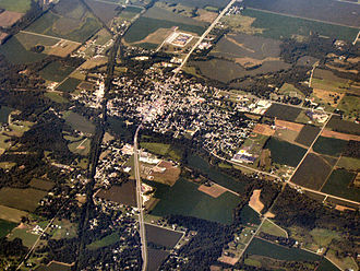 Knightstown, Indiana - Knightstown, Indiana from the air, looking southwest.