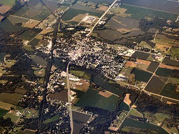 Knightstown, Indiana from the air, looking sou...