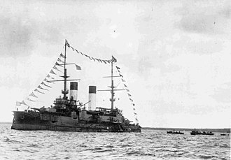 Knyaz Suvorov was sunk by Japanese torpedo boats during the Russo-Japanese War. Knyaz'Suvorov1904Reval.jpg
