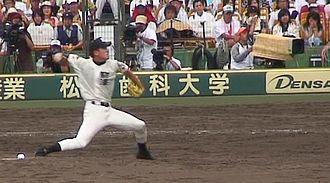 Masahiro Tanaka - Tanaka as a pitcher for Tomakomai High (taken August 17, 2006, at Koshien Stadium)