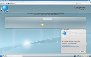 Konqueror - A screenshot of Konqueror 4.4.2 showing the default homepage