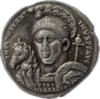 Helmet of Constantine - Silver medallion of 315; Constantine with a chi-rho symbol as the crest of his helmet