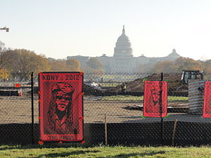 Kony 2012 - Kony 2012 posters on fence on the National Mall in Washington, D.C.
