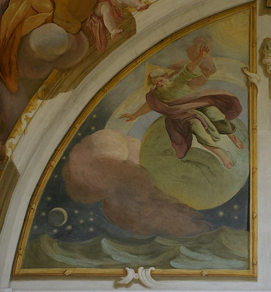Creation of the earth and sky. Fresco No. 16, Most Holy Trinity Church, Fulnek, Czechia, Europe. dans immagini sacre 558px-Kostel_Nejsv%C4%9Bt%C4%9Bj%C5%A1%C3%AD_Trojice_%28Fulnek%29_%E2%80%93_frs-018