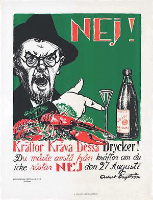 Swedish prohibition referendum, 1922 - Image: Kräftor kräva dessa drycker edit