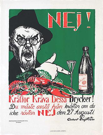 1922 Swedish prohibition referendum - Image: Kräftor kräva dessa drycker edit