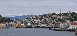 Blick vom Hafen auf Kristiansund
