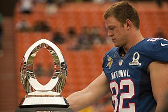Pro Bowl - Kyle Rudolph with the Pro Bowl MVP trophy in 2013.